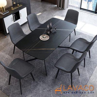 Bộ bàn ăn mặt đá 6 ghế bọc da