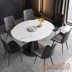 Bộ bàn ăn tròn mặt đá thông minh