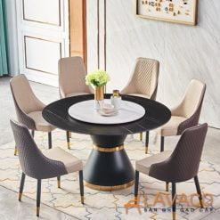 Bộ bàn ăn tròn mặt đá xoay 6 ghế