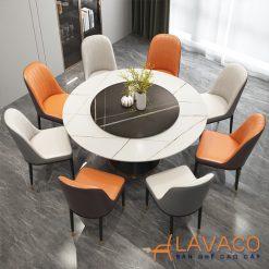 Bộ bàn ăn tròn mặt đá xoay 8 ghế