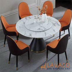 Bộ bàn ăn tròn mặt xoay 6 ghế