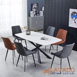 Bộ bàn ăn mặt đá 1.6m 6 ghế