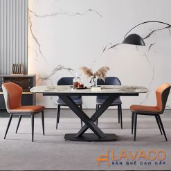 Bộ bàn ăn mặt đá chân chữ X 4 ghế