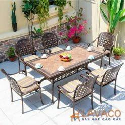 Bộ bàn ăn mặt đá ngoài trời sân thượng 6 ghế