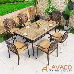 Bộ bàn ăn mặt đá sân vườn biệt thự 6 ghế