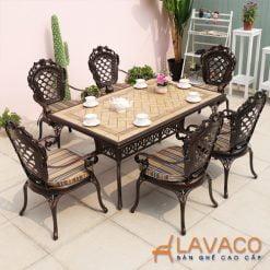 Bộ bàn ăn ngoài trời mặt đá chữ nhật 6 ghế