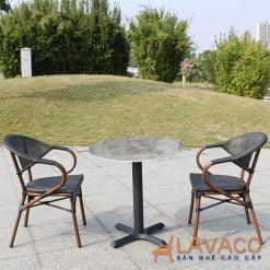 Bộ bàn cafe mặt đá sân vườn cao cấp