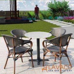 Bộ bàn ghế cafe mặt đá sân vườn 4 ghế