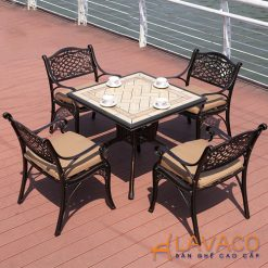 Bộ bàn ghế ngoài sân 4 ghế cổ điển