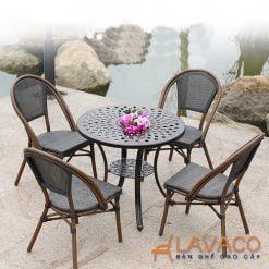 Bộ bàn ghế ngoài trời nhôm đúc vải lưới