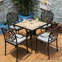 Bộ bàn sân vườn 4 ghế nhôm đúc