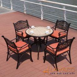 Bộ bàn tròn ngoài trời 4 ghế nhôm đúc