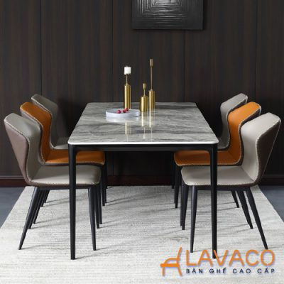 Bộ bàn ăn 6 ghế bọc da mặt đá