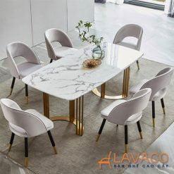 Bộ bàn ăn 6 ghế bọc vải nhung hiện đại