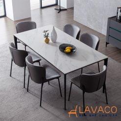 Bộ bàn ăn mặt đá 6 ghế cao cấp