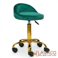 Ghế bar lưng bọc nhung chân xoay mạ vàng