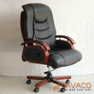 Ghế giám đốc bằng da thật tay gỗ
