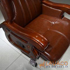 Ghế lãnh đạo cao cấp bọc da thật khung gỗ