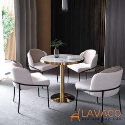 Bộ bàn ghế tròn tiếp khách mạ vàng sang trọng