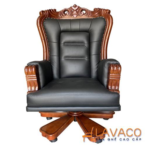 Ghế chủ tịch gỗ bọc da chân xoay cao cấp